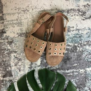 J. Crew Suede Slingback Sandals with Grommets 9 A1